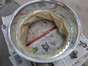 CLUB LINEA リム修理 3-塗装剥離→溶接修理→研磨